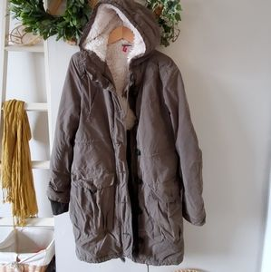 H&m long utility fleece lined coat parka 8